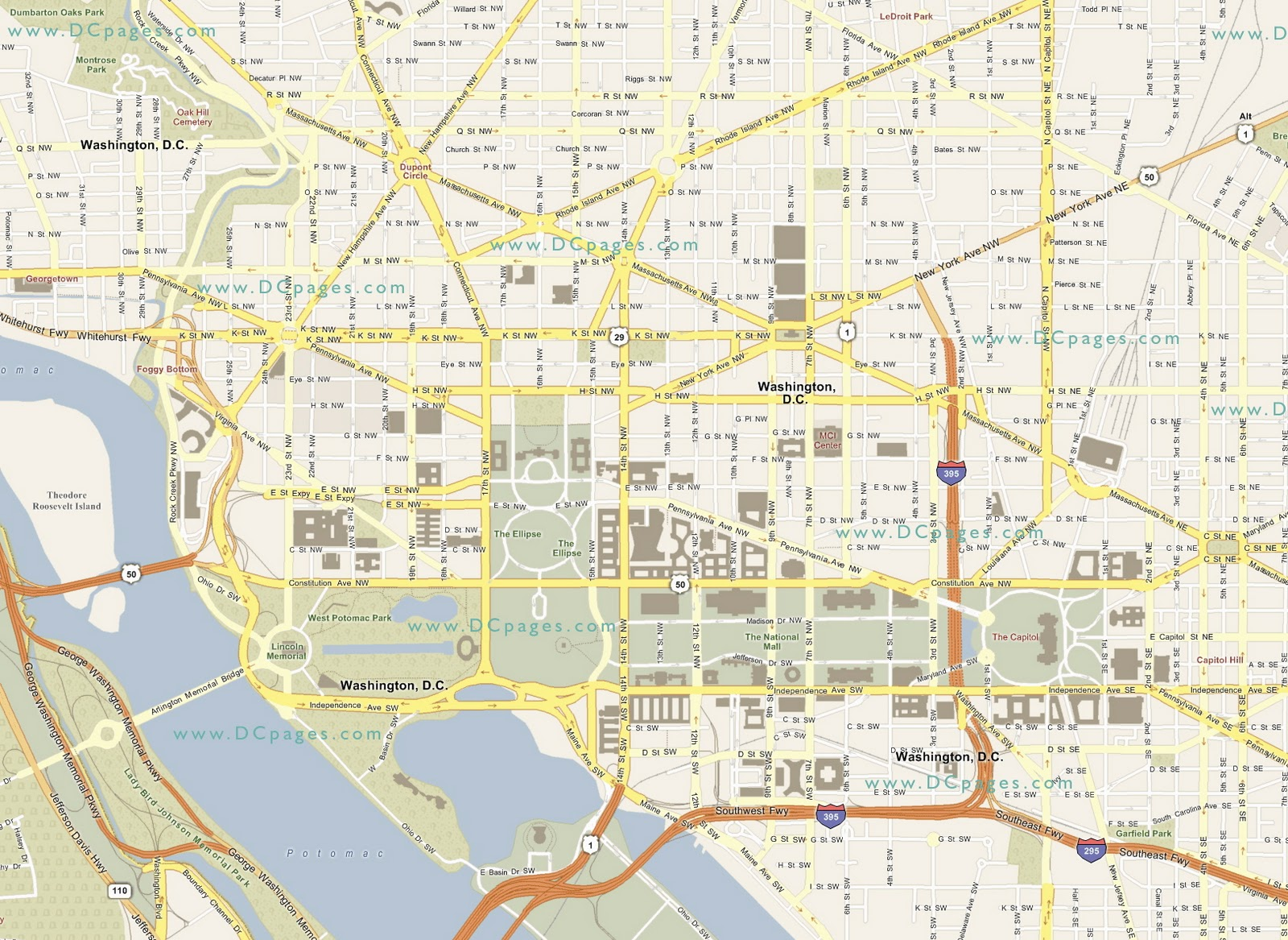 Washington DC Map National Mall Maps NPMapscom Just Free Maps - Washington dc capitol map