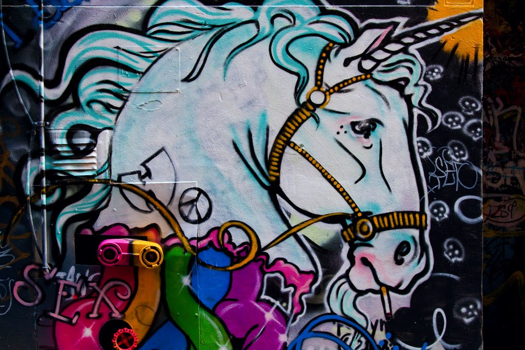 Graffiti photographed down hosier lane in melbourne