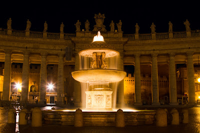 A fountain in st Peters Square - Vatican City
