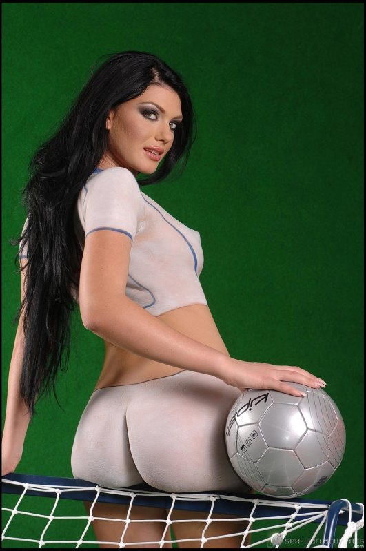Sexy Soccer Body Painted Girl