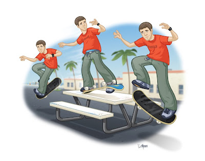 Danny Moore Illustration Skateboarer Rodeny Mullen Casper Sliding