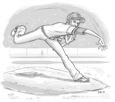 Danny Moore Illustration Pitcher Rays Garza