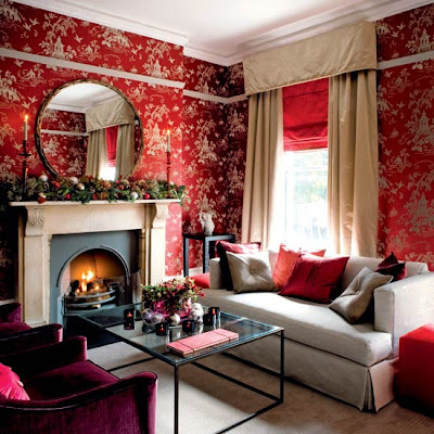 Design classic living room with red wall wallpaper