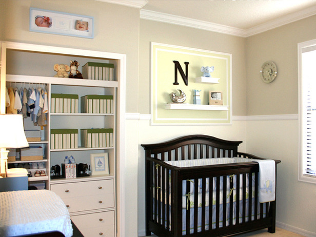 Boys Baby Rooms Seeing Stripes - Beautiful Brown and Blue Baby Boy's Nursery