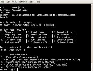 reset windows password using chntpw