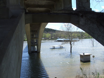 Branson / Hollister Bridge over Lake Taneycomo. Photo shot nderneath