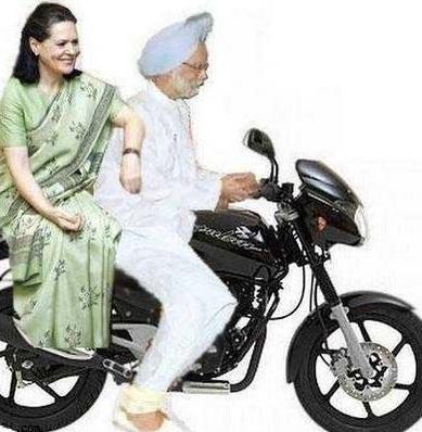Manmohan Singh and Sonia Gandhi on Bike