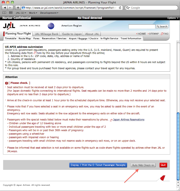 JAL added auto web check-in function on its website.