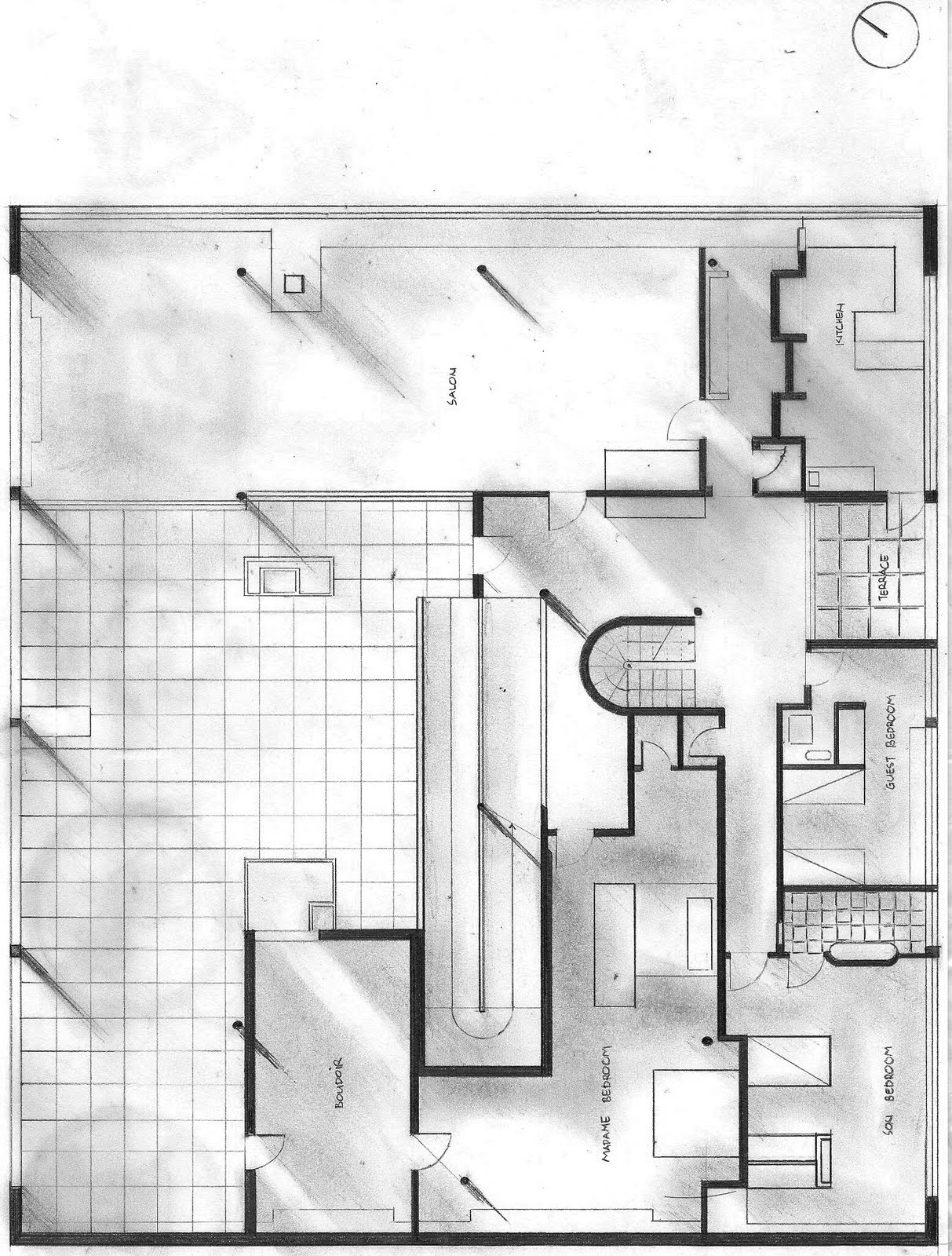Ryan 39 s blog le corbusier 39 s villa savoye parti and poche for Free plan drawing