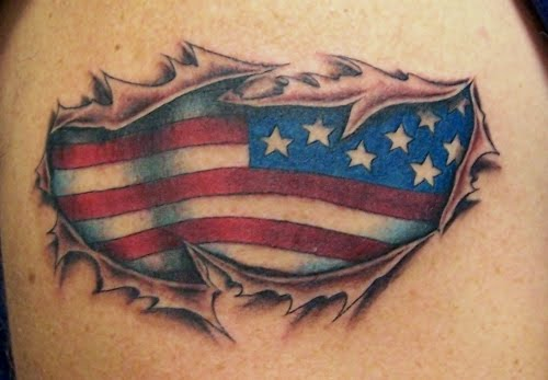 American Flag Tattoo On The Arm