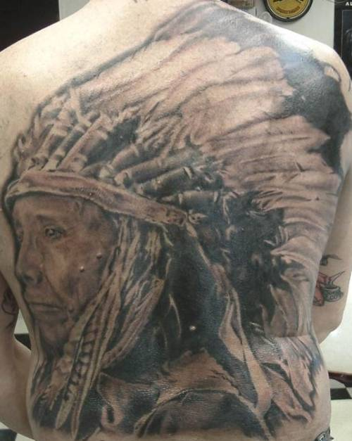 American Indian Tattoo On The Full Back