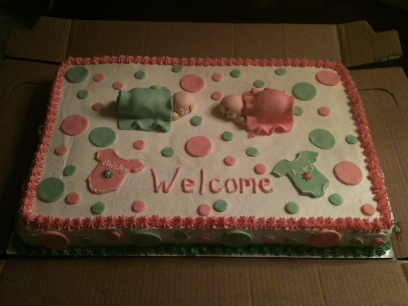 baby shower cake for twin girls! This is iced with smooth ...
