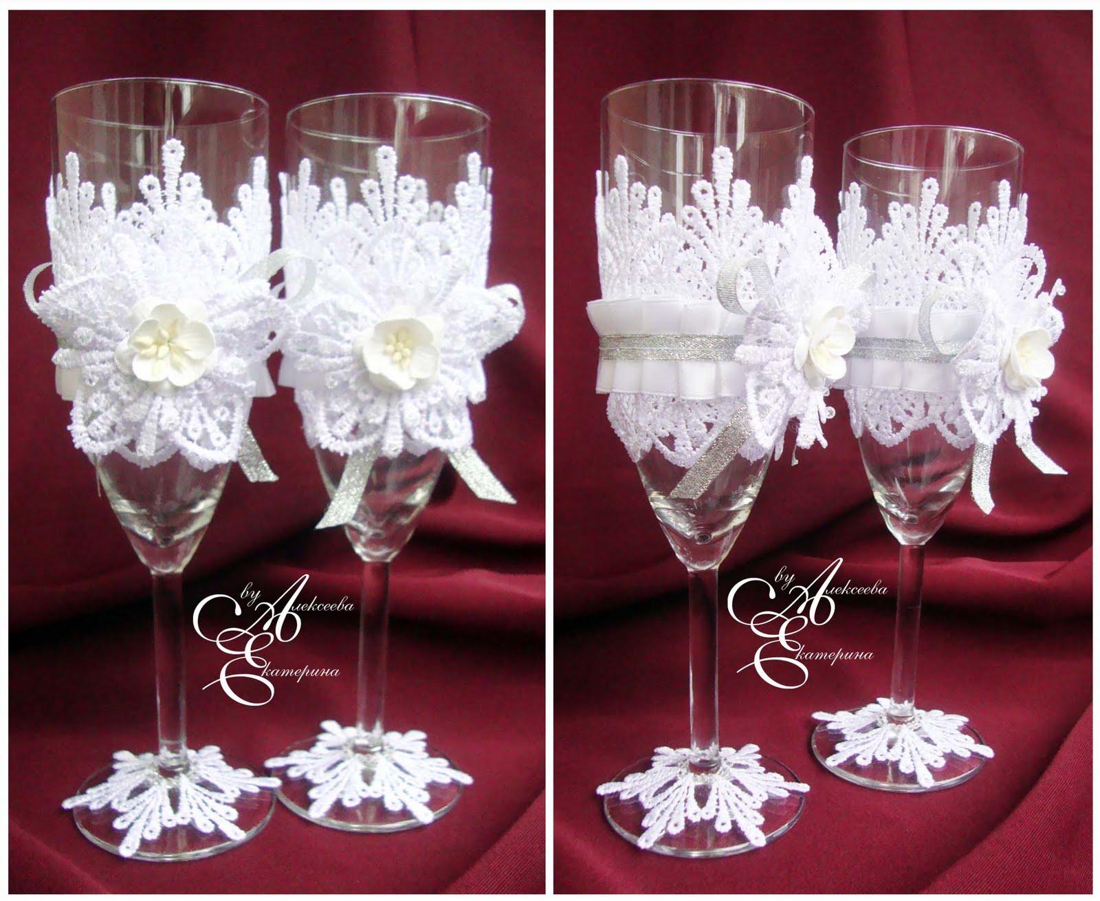 Декор бокалов на свадьбу фото