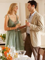 woman flirting with man