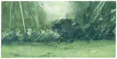 Paysage d'arbres (III)landscape treescape gouache