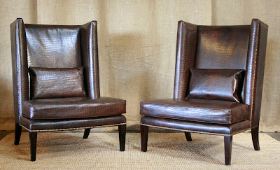 High  Leather Furniture on Pair Of High Back Embossed Crocodile Leather High Back Lounge Chairs