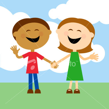 Children Holding Hands Banner Vector Illustration