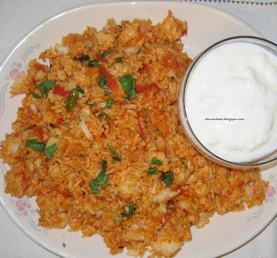Cheenachatti tomato rice thakkali choru i used to enjoy eating freshly diced tomatoes mixed with sugar as a snack long time back having never seen or eaten tomato rice i didnt think that one day ccuart Choice Image