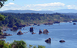 trinidad's southern coastline with Coastal National Monument sea stacks