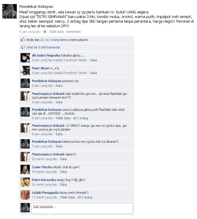 Status Kata Facebook Lucu Unik Gokil Terbaru
