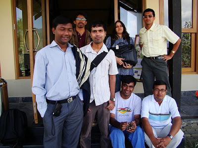 travel bloggers team with resort Manager Mr Bakshi