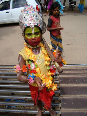 Kid dressed as Hanuman