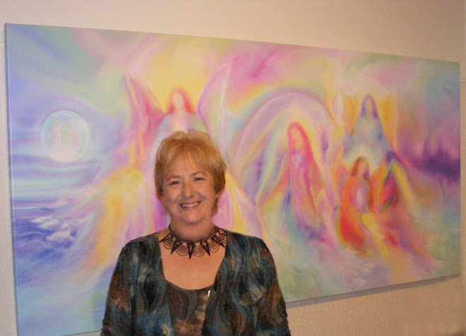 Glenyss Bourne with her Angel Artwork at Sanctuary Angel Gallery