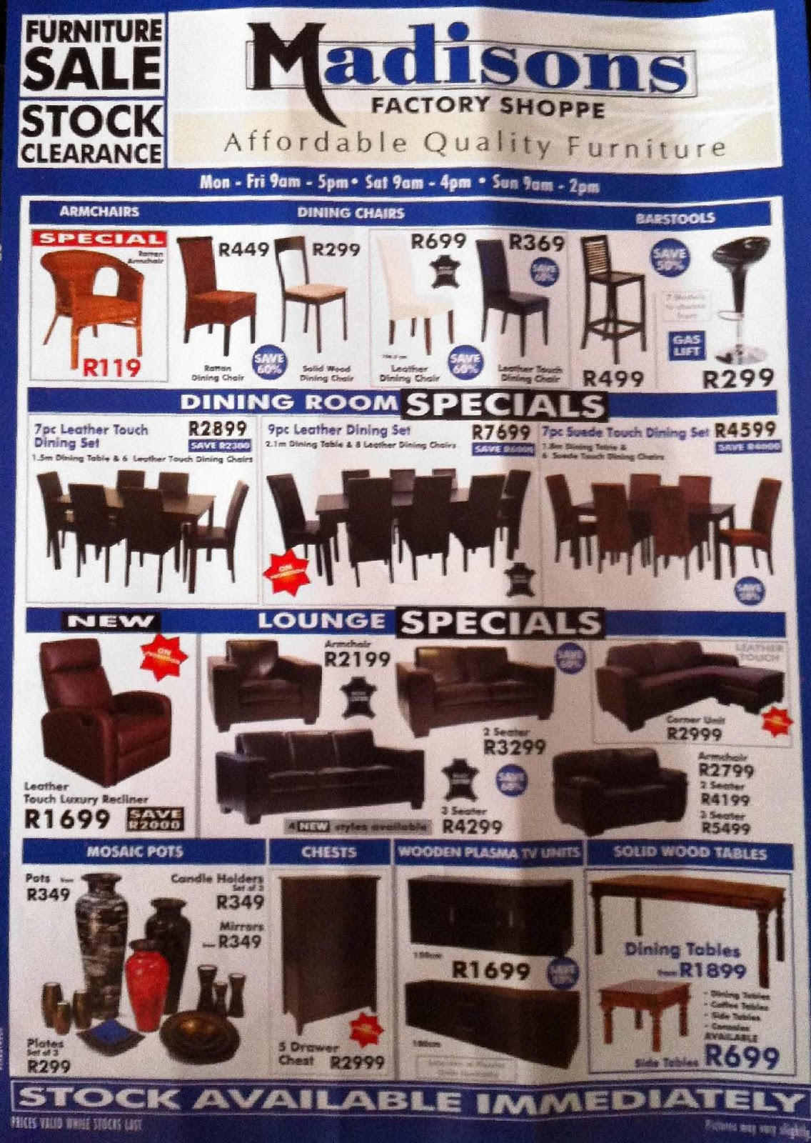 Madisons factory shop affordable quality furniture for Affordable furniture catalogue