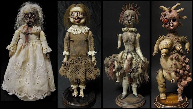 Terrorificas esculturas con muñecas