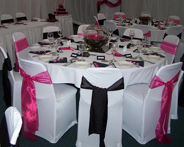pink black and white wedding decorations