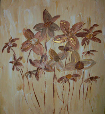 The Painting Mom: Brown Flowers (In progress)