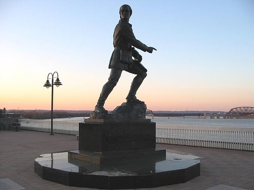 George Rogers Clark still keeps watch over the river.