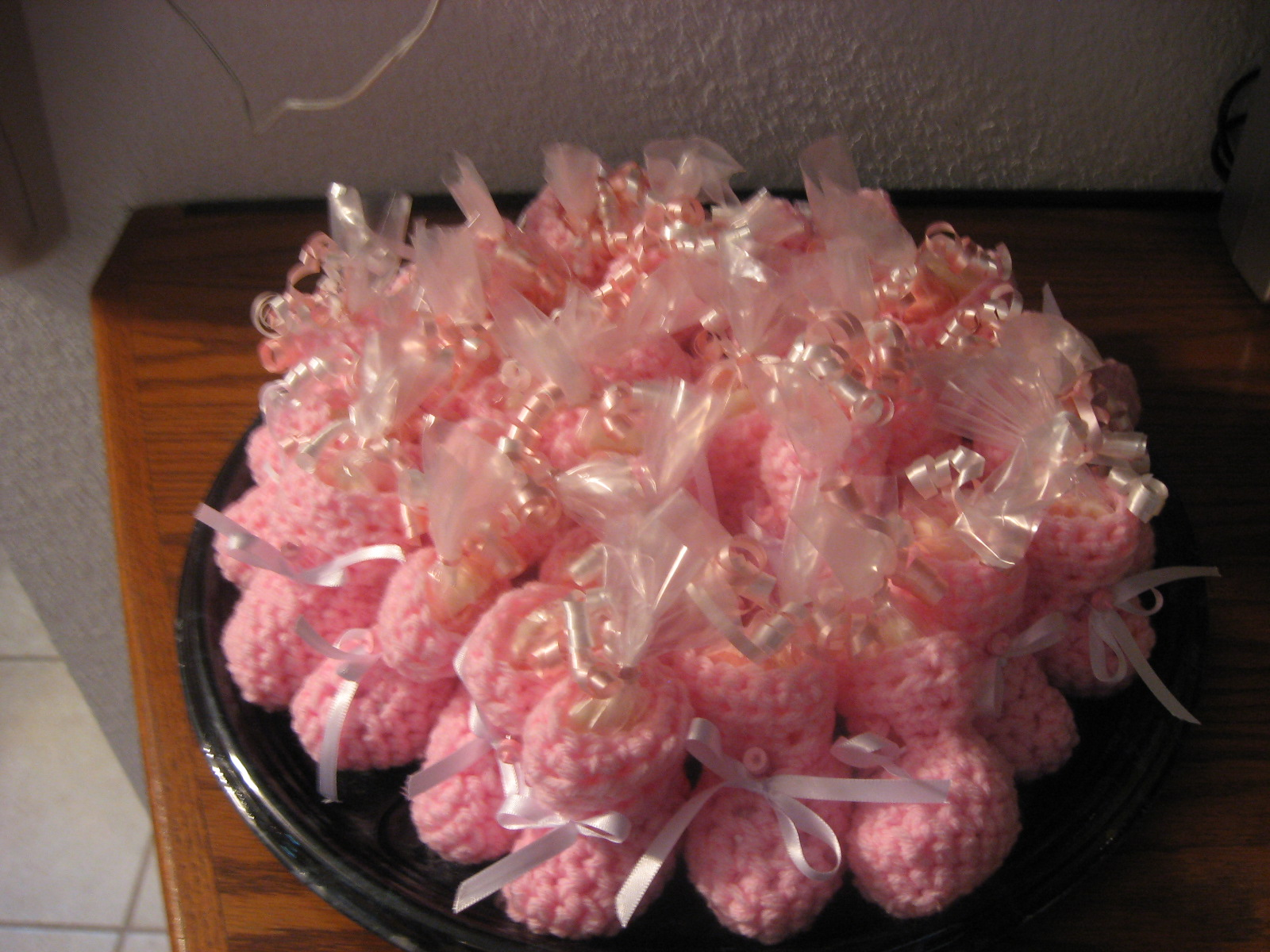 I Crocheted 30 Booties For A Recent Baby Shower That I Gave For My New  Daughter In Law. My Granddaughter, Mandy Made Candy Bottles And Pacifiers  And We ...