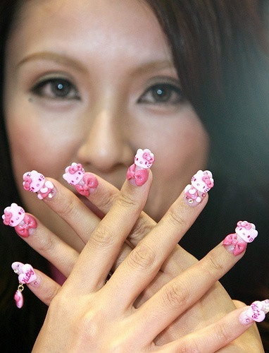 hello kitty nails art Designs