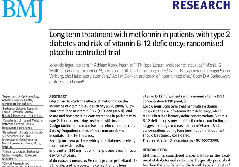 RedgedapS: La metformina y la vitamina B12 en el diabético