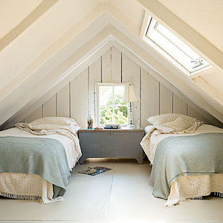 cottage bedroom, attic bedroom, wood beam ceiling