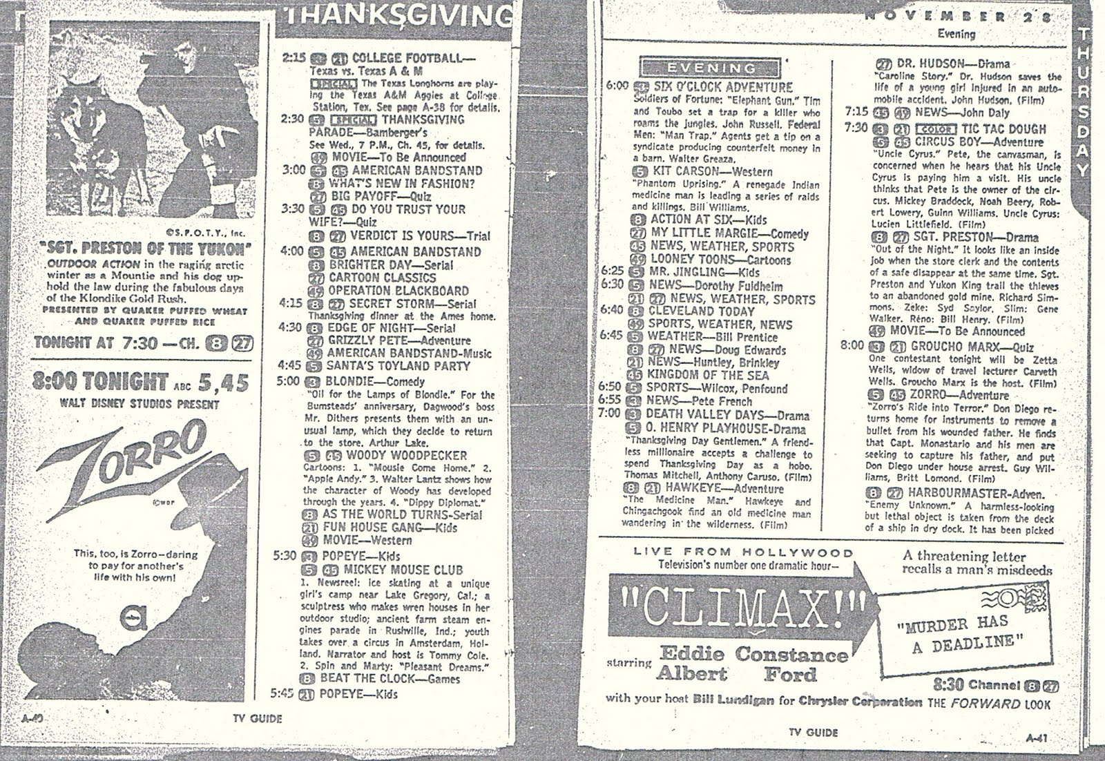 cleveland classic media: looking at thanksgiving:thursday november