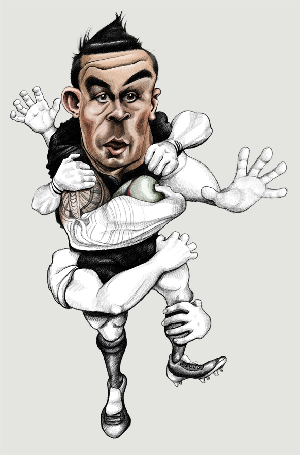 Sonny Bill Williams colour caricature, nearly done!