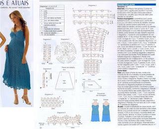 Este vestido azul em croche, muito lindo vem com o gráfico,para