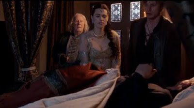 Merlin The Tears of Uther Pendragon screencaps images photos pictures screengrabs bed Anthony Head Arthur Bradley James Morgana Katie McGrath Gaius Richard Wilson mandrake crazy