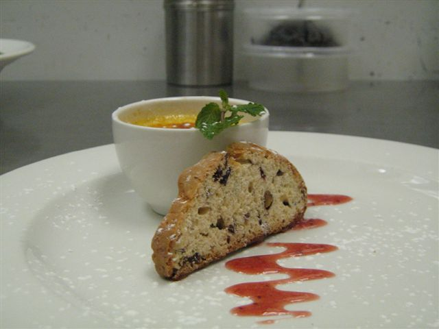 Rooibos Creme Brulee with Pistachio and Cranberry Biscotti
