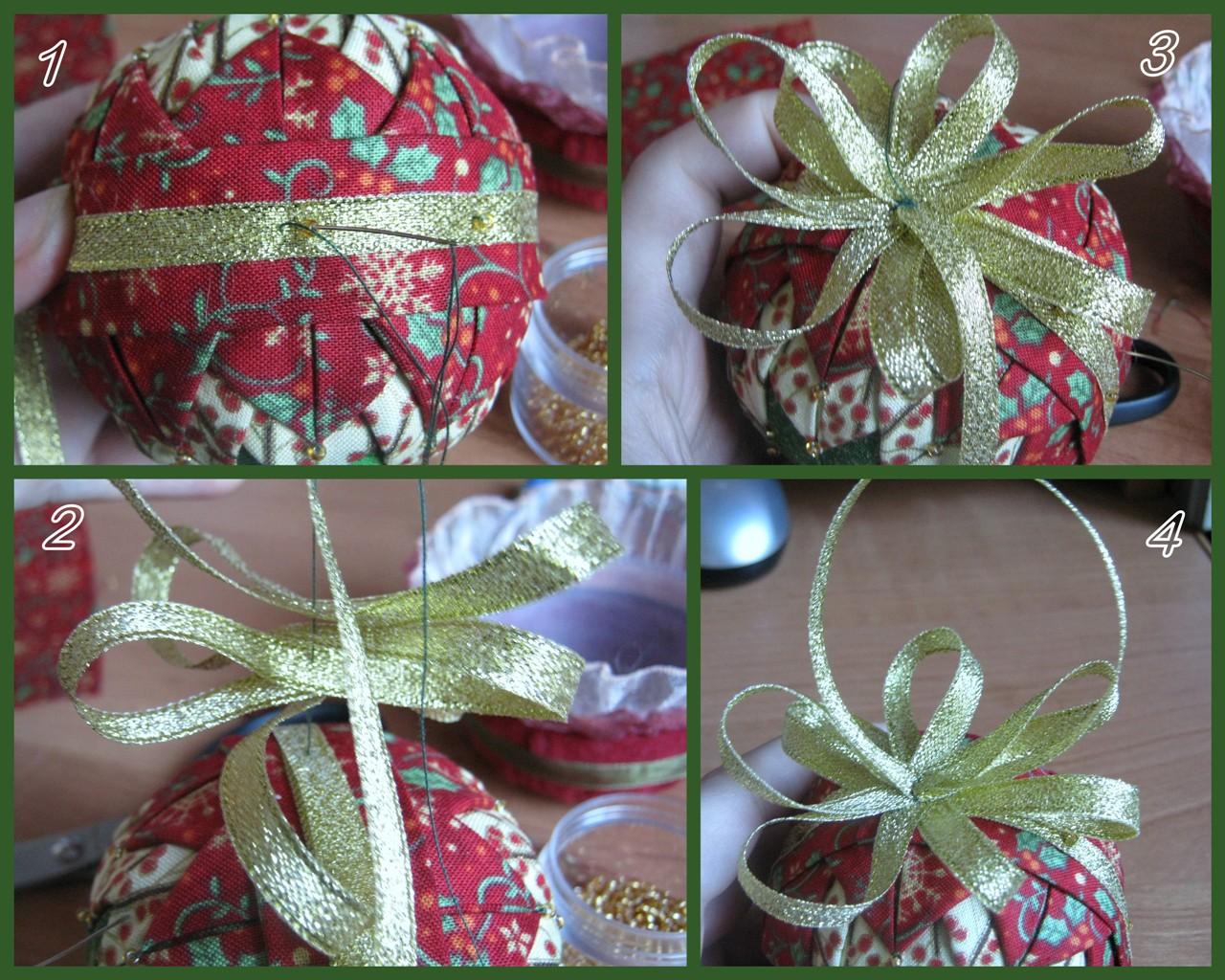 Новогодние шарики своими руками из ткани