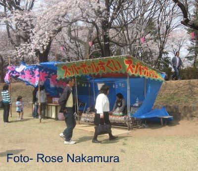 barraquinha de guloseimas no Japão na festa de Hanami