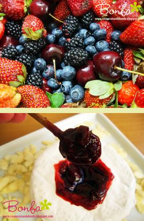 Geleia de cerejas, amoras, blueberries e morangos feita com limão siciliano e vinho do Porto