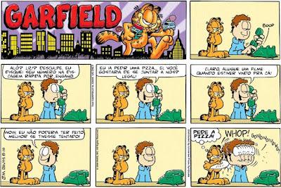 Quadrinhos engraçados: Garfield: Pedindo uma pizza!