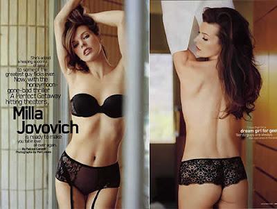 Milla Jovovich nua e de lingerie na Revista Maxim