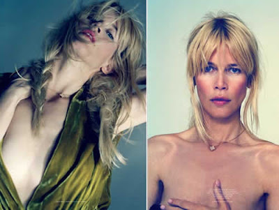 Topless: Claudia Schiffer de lingerie preta