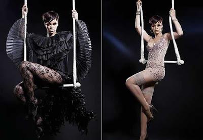 Rihanna de lingeire transparente no trapézio