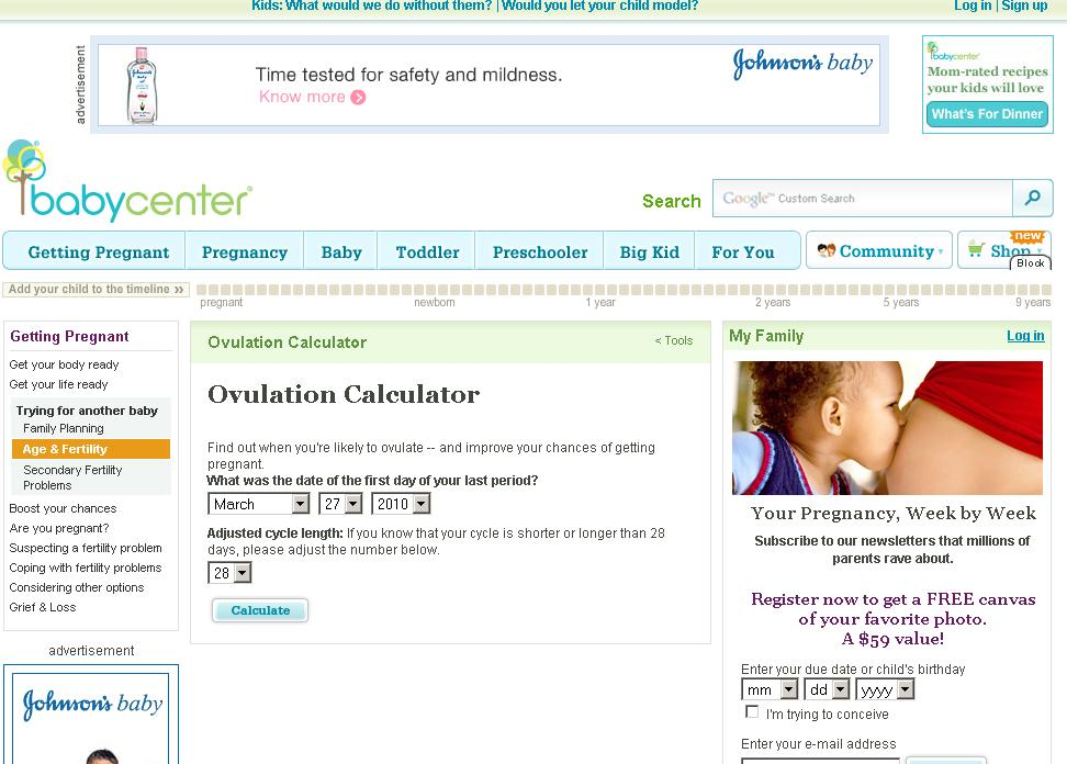 How to use Baby Center Ovulation Calculator from BabyCenter.com?