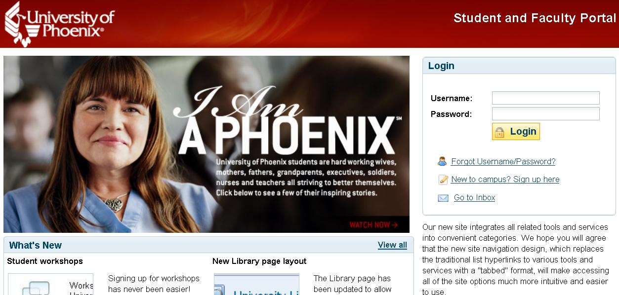 university of phoenix student web login guide at ecampus